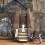 Pattes de lion encadrent le début de l'escalier