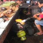préparation de l'animal à vendre par brûlage