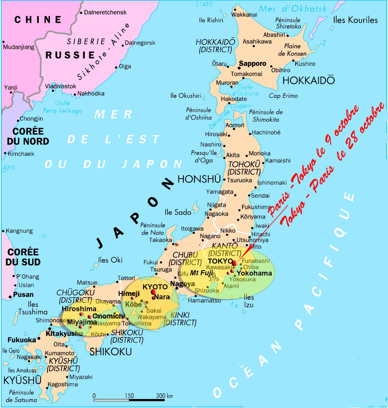 carte gilanik JAPON trajet réalisé