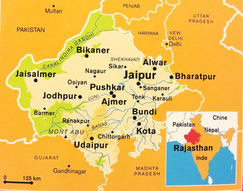 carte Rajasthan et villes gilanik