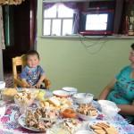 Thé d'accueil en famille (avec viande de mouton!)