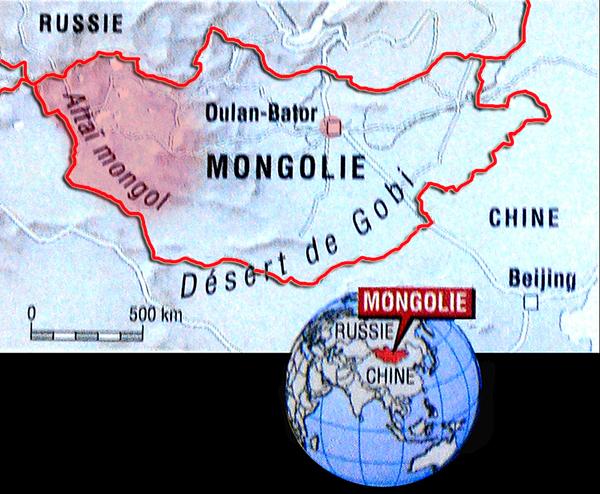 carte mongolie et region