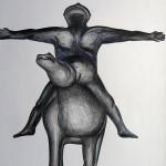 Oeuvre de Marino Marini devant le Gughenheim