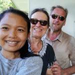 Avec notre amie Mira à l'ecofarm de Bukit Lawang