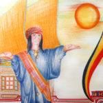 Culture Batak -drapeau et  Marionnette Sigale-gale